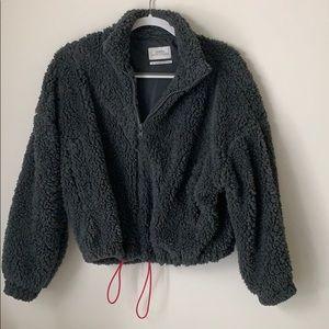 UO Willow Fuzzy Charcoal Teddy Jacket